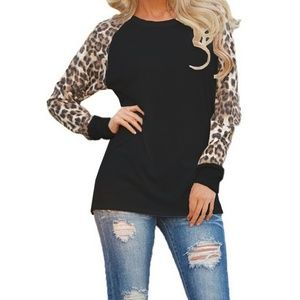Black and Leopard print long sleeved t shirt